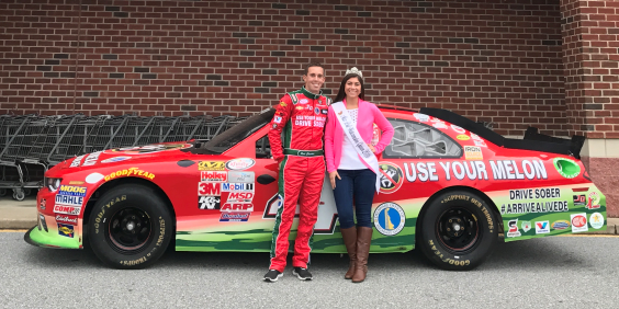 NASCAR Driver Ross Chastain And The 2016 Watermelon Queen At Giant