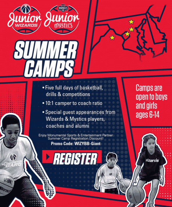 Sign Up For Giant Basketball Camps With The Washington Wizards And Mystics