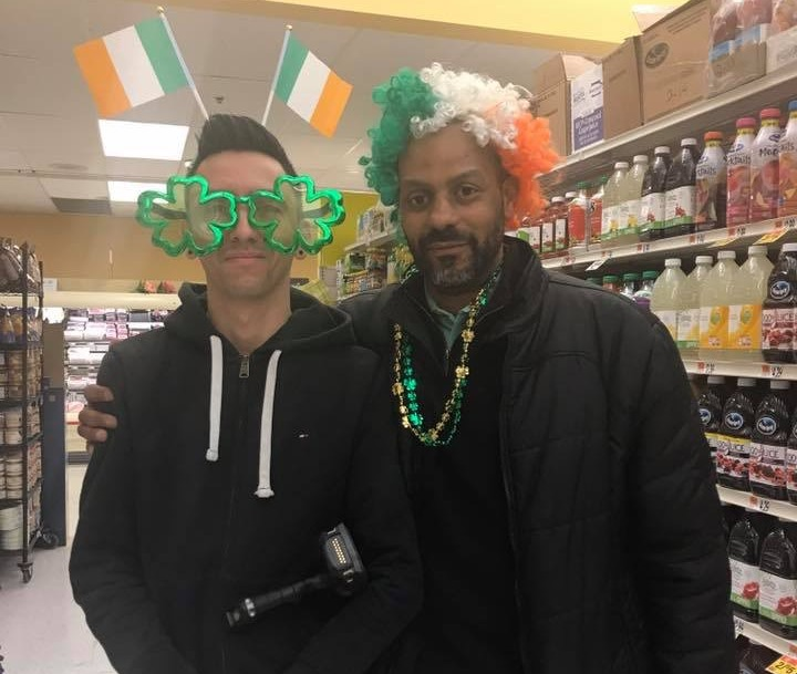 Store Manager Sidney,  And Grocery Clerk, Jheison Are Ready For The St. Patrick's Day Festivities At Store 301.