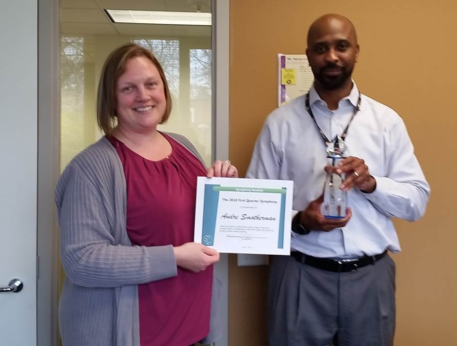 Congratulations To Andre, Giant Food Assortment Analyst, For Receiving The Q1 2018 Symphonies  Award!