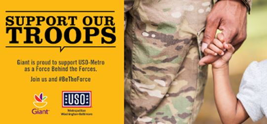Giant's USO Campaign Begins Monday, May 28: Be The Force Behind Our Armed Forces